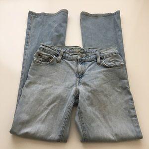 Bebe Vintage Light Wash Distressed Jeans Size 28
